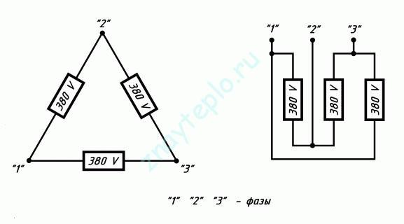 Подключение ТЭНов треугольником