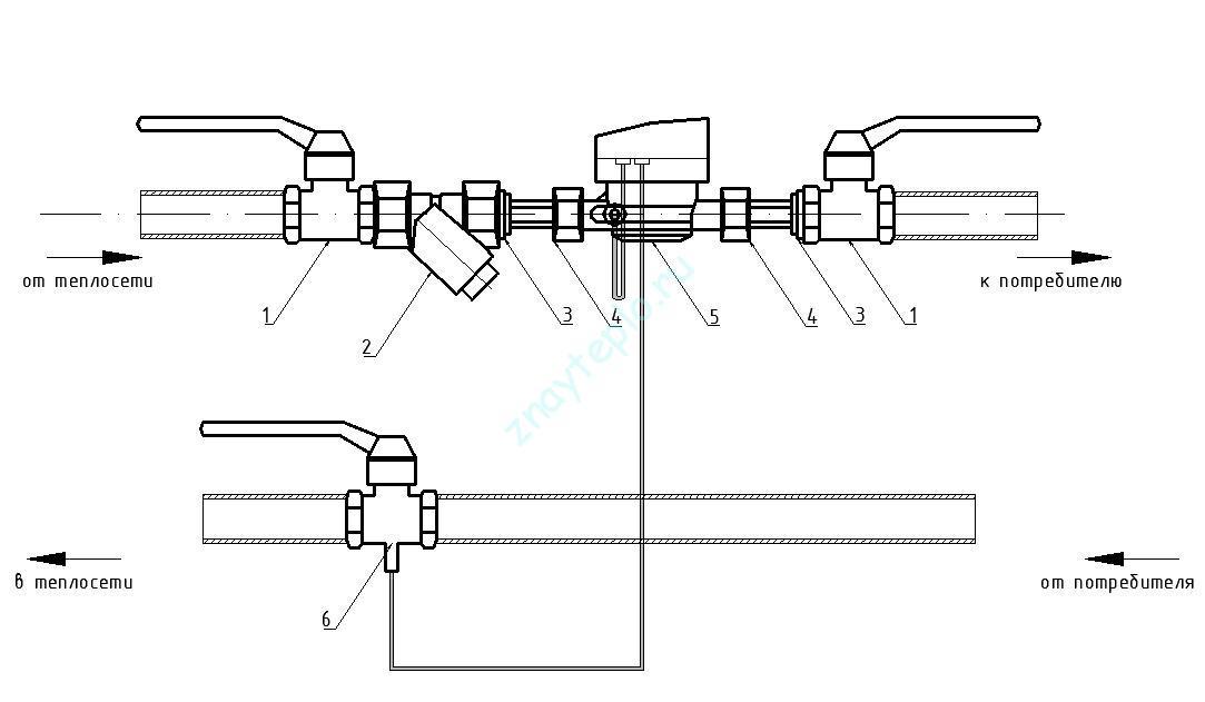 схема подключения теплового счетчика.