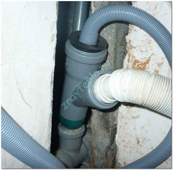 Подключение посудомоечной или стиральной машины к канализации.