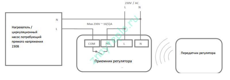 Схема подключения беспроводного термостата к котлу по потенциалу (напряжению)
